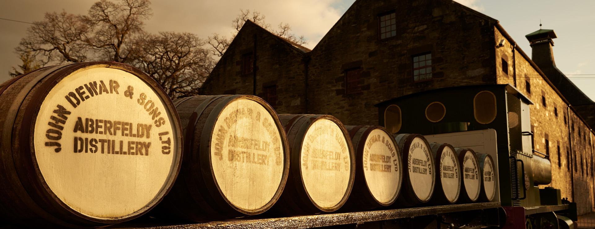 Puggie train at Dewar's Aberfeldy Distillery - Highland whisky distillery